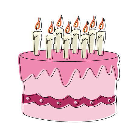 Birthday cake cartoon vector illustration graphic design.