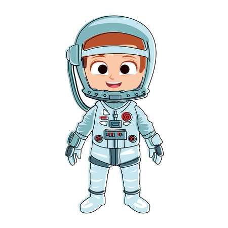 Astronaut girl cartoon vector illustration graphic design Illustration
