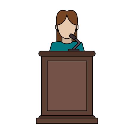 Witness female standing at tribune vector illustration graphic design
