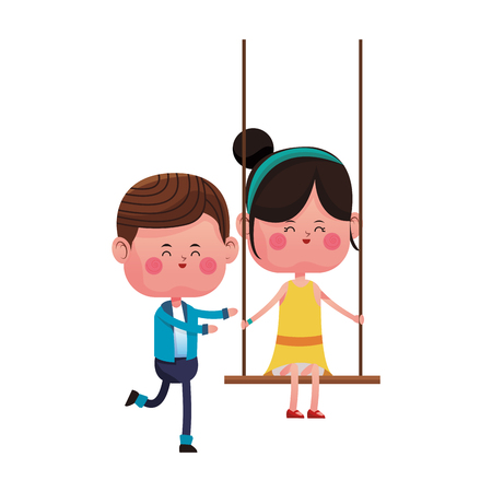Boy pushing girlfriend on swing cartoon vector illustration graphic design