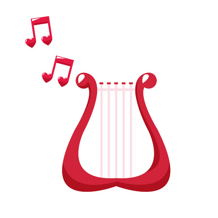 Harp playing music notes vector illustration graphic design