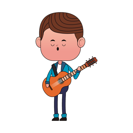 Cute boy playing guitar vector illustration graphic design.