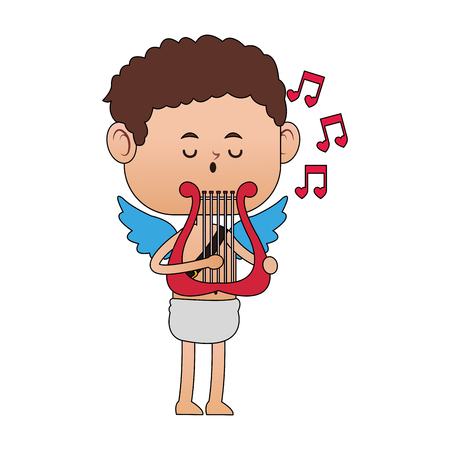 Cupid playing music with harp vector illustration graphic design