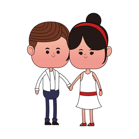 Cute couple cartoon vector illustration graphic design