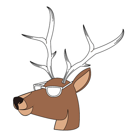 Stylish reindeer cartoon vector illustration graphic design