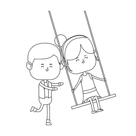 Boy pushing girlfriend on swing cartoon vector illustration graphic design.