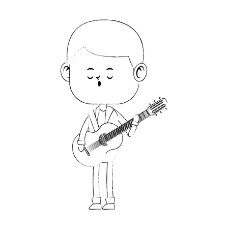 Cute boy playing guitar for his girlfriend vector illustration graphic design