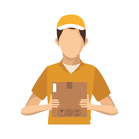 Courier with box vector illustration graphic design