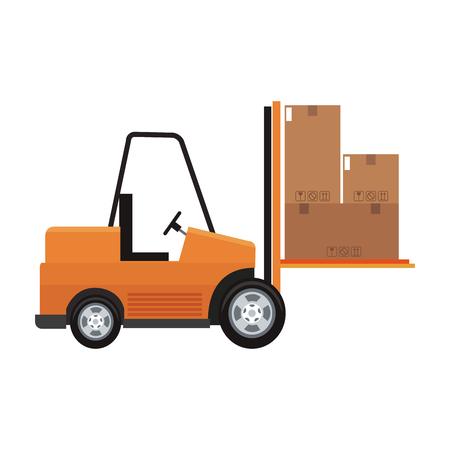 Forklift with boxes vector illustration graphic design Illustration