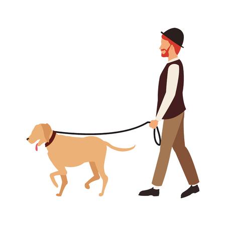 Man walking with dog vector illustration graphic design Illustration
