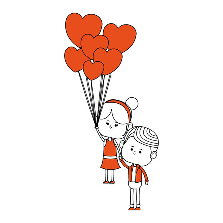 Cute couple flying with balloons cartoon vector illustration graphic design.