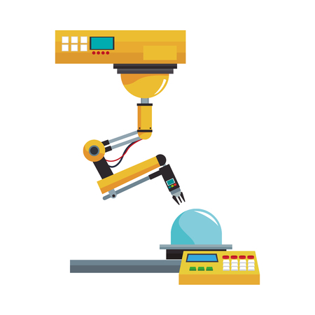 Factory robot arm with conveyor vector illustration graphic design Illustration