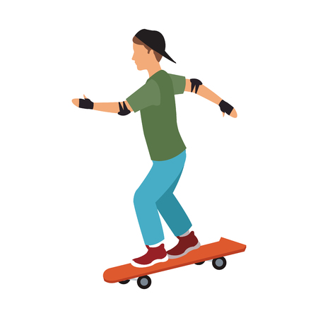 Boy on skateboard vector illustration graphic design