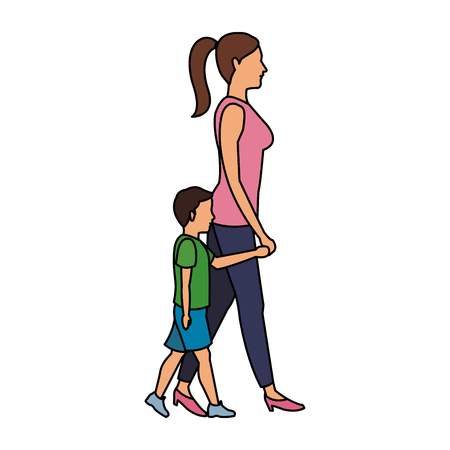 Mom with son walking vector illustration graphic design.