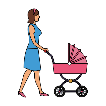 Woman with baby carriage vector illustration graphic design