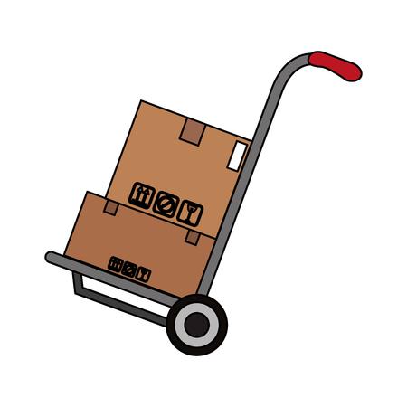 Boxes on hand truck icon vector illustration graphic design Illustration