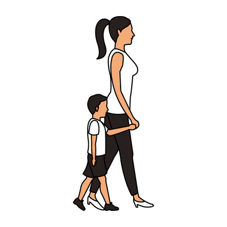 Mom with son walking icon vector illustration graphic design