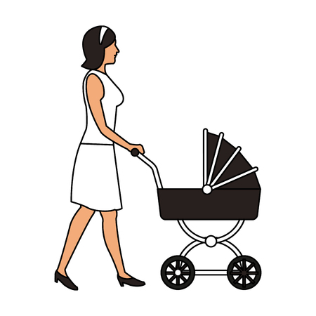 Woman with baby carriage icon vector illustration graphic design
