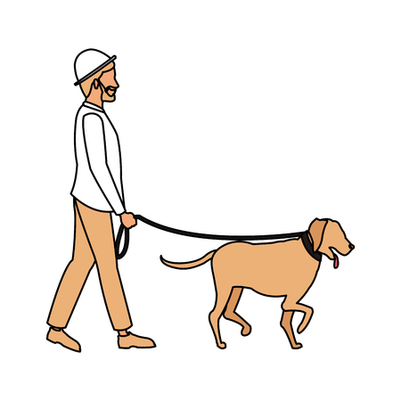 Man walking with dog icon vector illustration graphic design