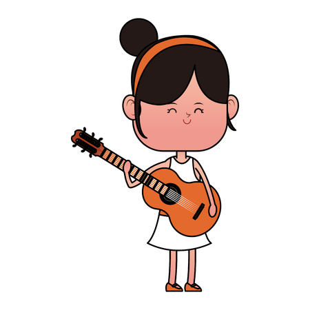 Girl playing guitar cartoon icon vector illustration graphic design
