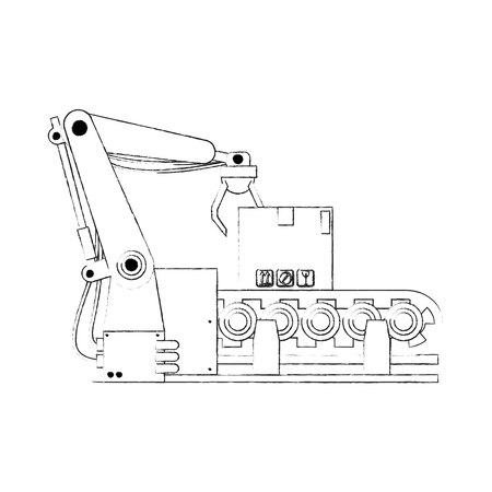 Factory robot arm with conveyor icon vector illustration graphic design