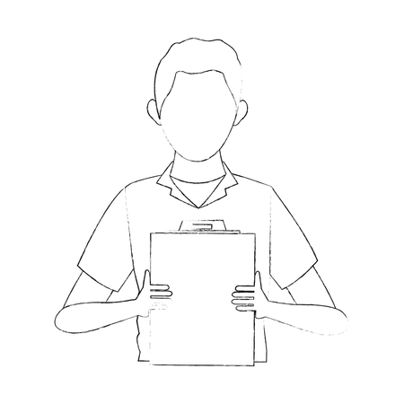 Courier with document board icon vector illustration graphic design