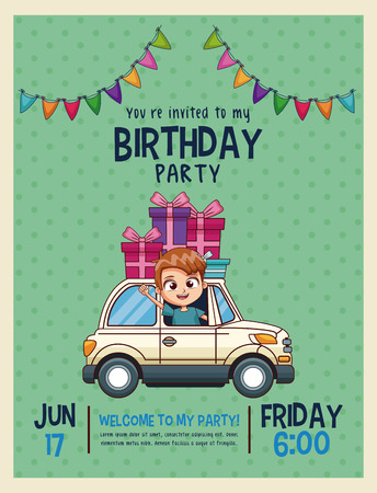 Kids birthday invitation card vector illustration graphic design kids birthday invitation card vector illustration graphic design stock vector 96126150 filmwisefo