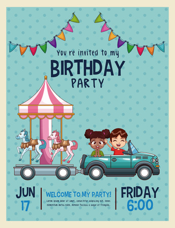 Kids birthday invitation card vector illustration graphic design kids birthday invitation card vector illustration graphic design stock vector 96125715 filmwisefo