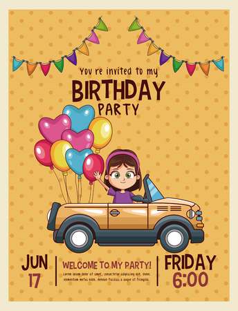 Kids birthday invitation card vector illustration graphic design kids birthday invitation card vector illustration graphic design stock vector 96126151 filmwisefo