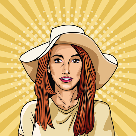 Fashion woman pop art cartoon vector illustration graphic design Illustration