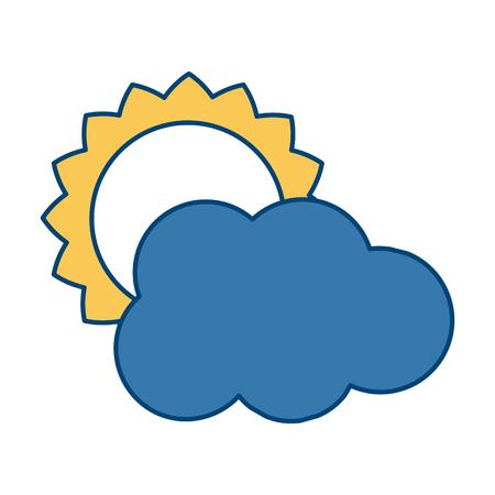 Sun and cloud weather symbol icon vector illustration graphic design Illustration