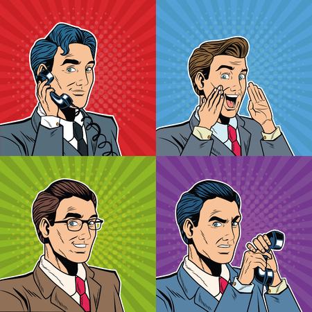 Businessmens pop art cartoon vector illustration graphic design Stock Illustratie