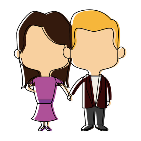 couple of young man and woman hold hands romantic vector illustration