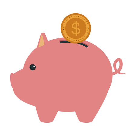 piggy bank with coin saving or accumulation of money investment business vector illustration Illustration