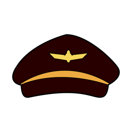 airline pilots hat aviator cap with gold insignia vector illustration