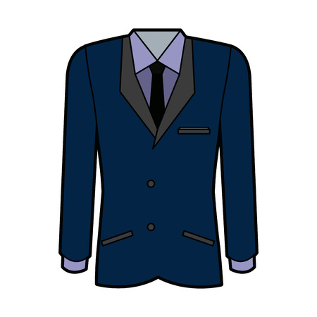 business suit with tie shirt cloth elegant vector illustration Ilustração