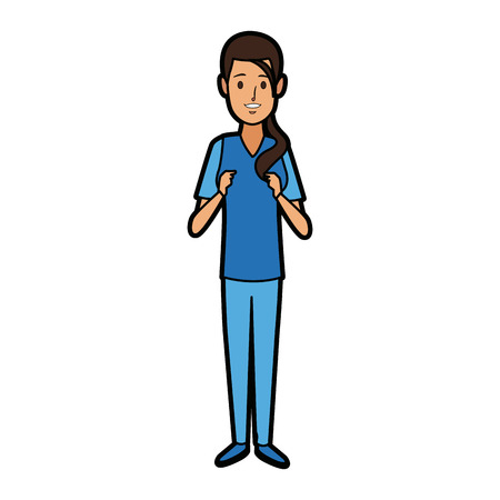 surgeon medical doctor woman wear blue surgery scrub suit vector illustration