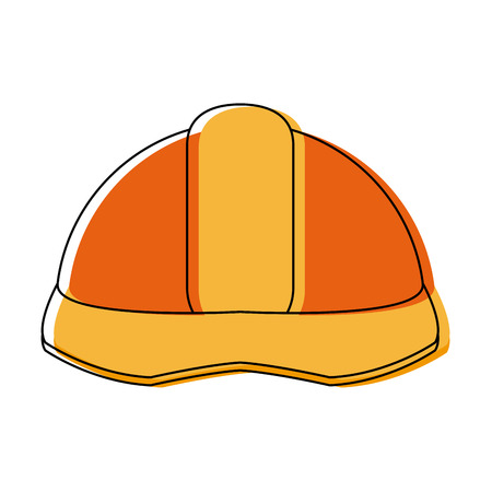 Industrial helmet safety icon vector illustration