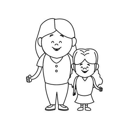 Mother with her daughter together family vector illustration