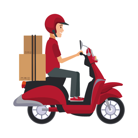 delivery boy ride scooter motorcycle service order shipping vector illustration