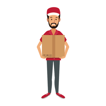delivery man holding box postal courier package vector illustration