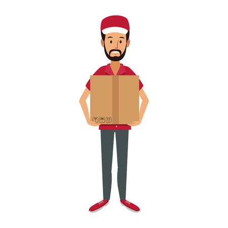 livraison homme tenant boîte postal colis électronique illustration vectorielle