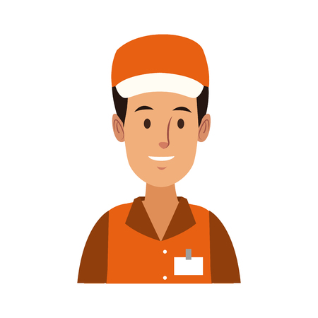worker portrait of delivery man with cap vector illustration Illustration