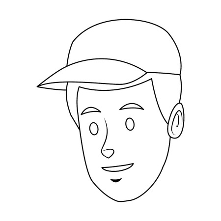 Worker portrait of delivery man with cap vector illustration