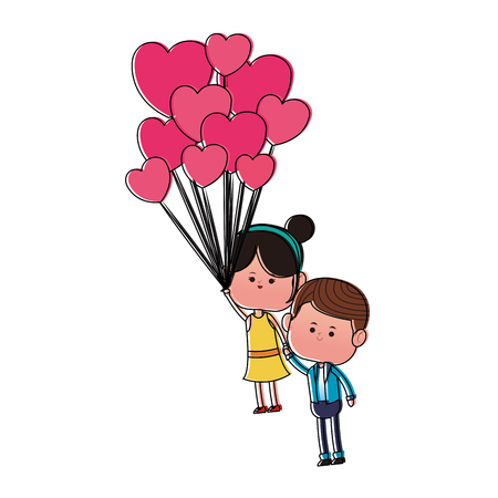 Cute couple flying with balloons cartoon vector illustration graphic design