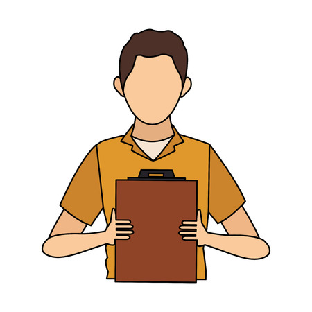 Worker man supervisor board icon vector illustration graphic design