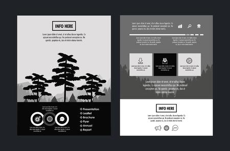 Progettazione grafica dell'illustrazione infographic di vettore dell'opuscolo della foresta