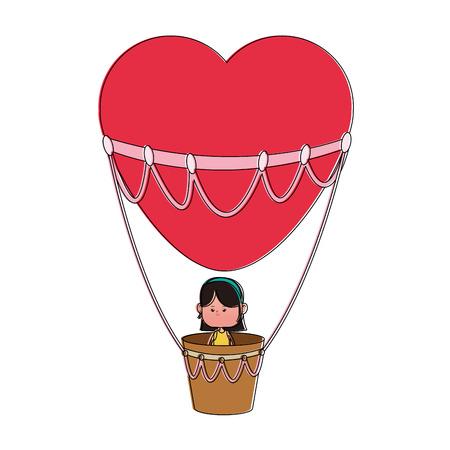 Little girl flying on hot air balloon vector illustration graphic design