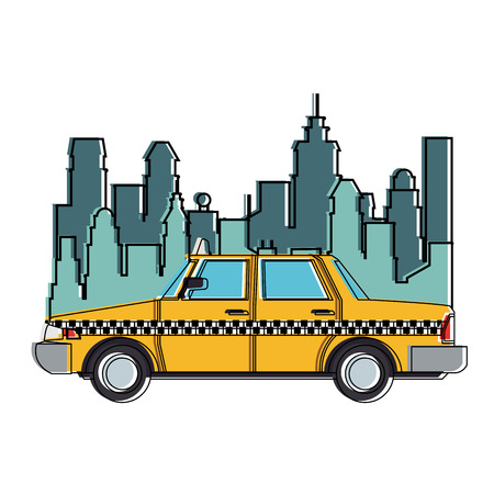 Taxi at the city vector illustration graphic design Illustration