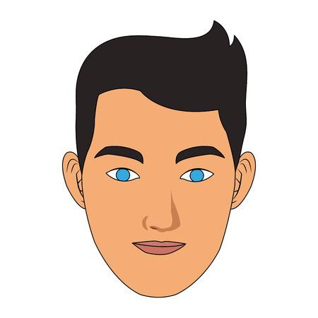 Man smiling face cartoon vector illustration graphic design Illustration